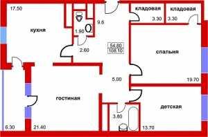 Планировка трехкомнатной квартиры в Южный